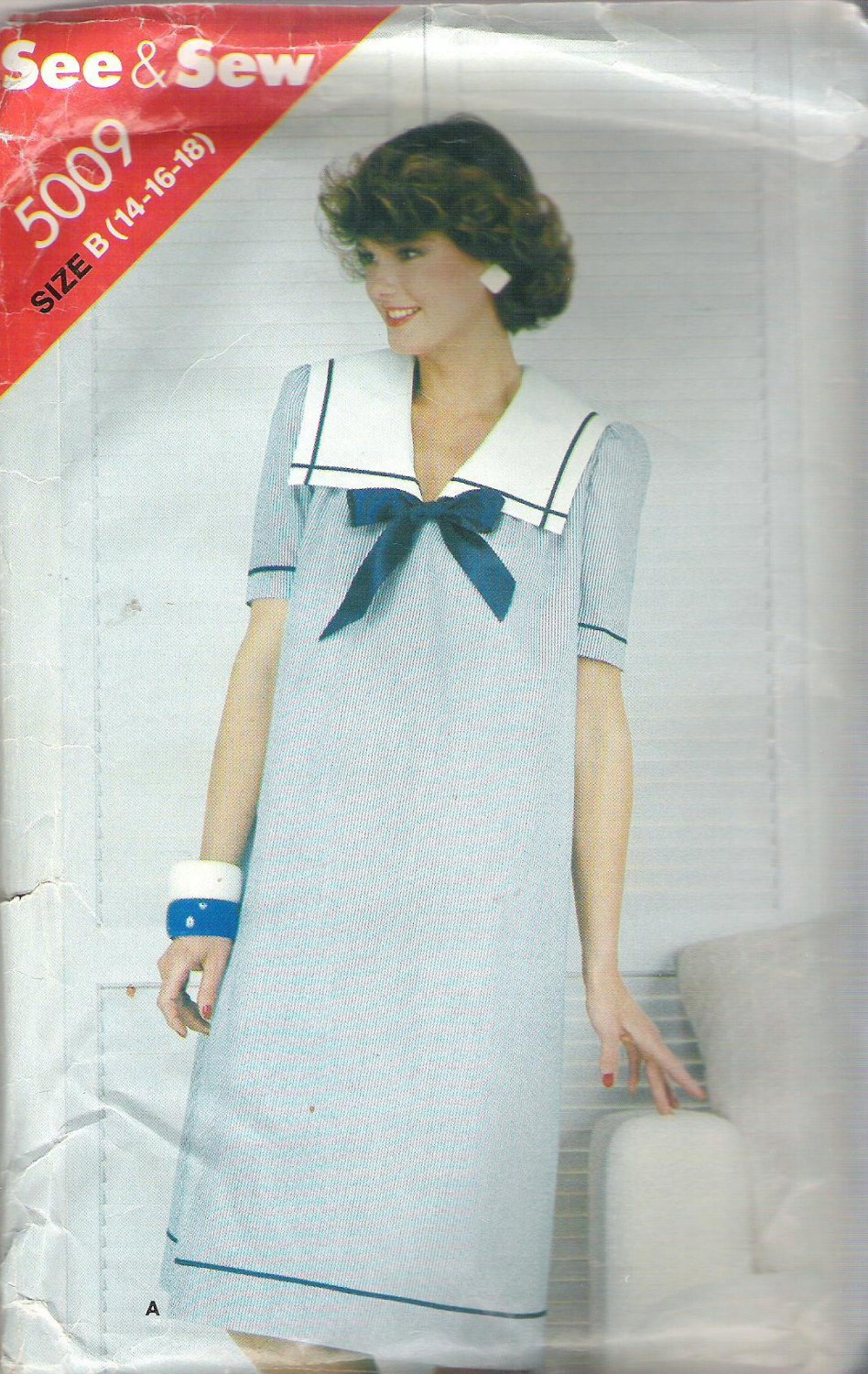 Butterick 5009 Pattern Very Loose Fitting Sleeveless Long Sleeve Sailor Dress  Size 14-18  Cut to 18