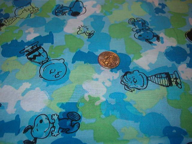 """Peanuts Characters in Black on  Blue Green White Soft Cotton Fabric 1 YD x 45"""" wide"""