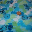"Peanuts Characters in Black on  Blue Green White Soft Cotton Fabric 1 YD x 45"" wide"