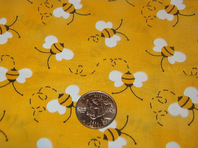 """Black and White Bees on Yellow Background Cotton Fabric  23""""L x 45""""W"""