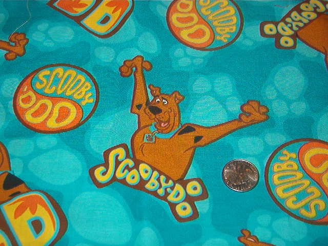 "Scooby Doo Print in Turquoise, Orange, Yellow, Brown Cotton Fabric 1 3/4 yds x 43"" w"
