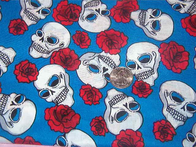 """White Skulls Red Roses on Blue Background  Cotton Fabric  2/3yd x 44""""w"""