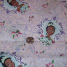"Little Princess on Pink Background with Purple Scrolls Cotton Fabric  1 1/2 yd x 45"" w"