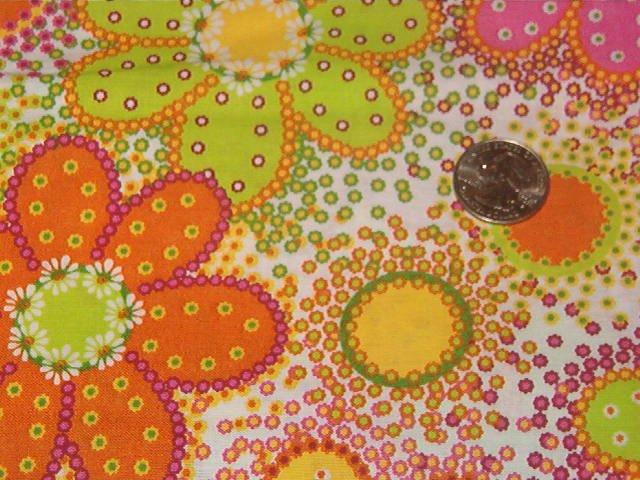 "Funky Boho Hippie Flower Power Pink Yellow Orange Green Cotton Fabric 1yd x 45""w"