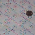 "Raised Embroidery in Pastel Colors on Semi-Sheer White Background Cotton Fabric  2yd x 45""w"