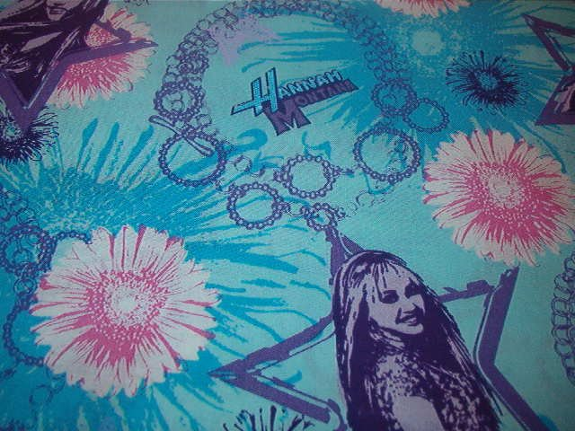 "Hannah Montana in Star Blues, Purple and Pink Cotton Fabric 1 1/3 yds x 44"" w"