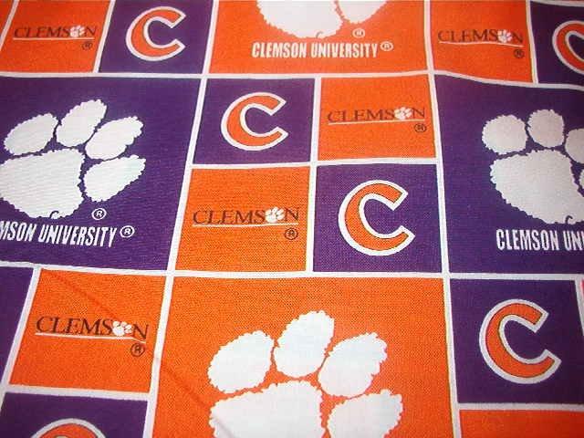 "Clemson University Tiger Paws in Orange Purple & White Cotton Fabric 2 pieces 1/2yd x 45"" wide"