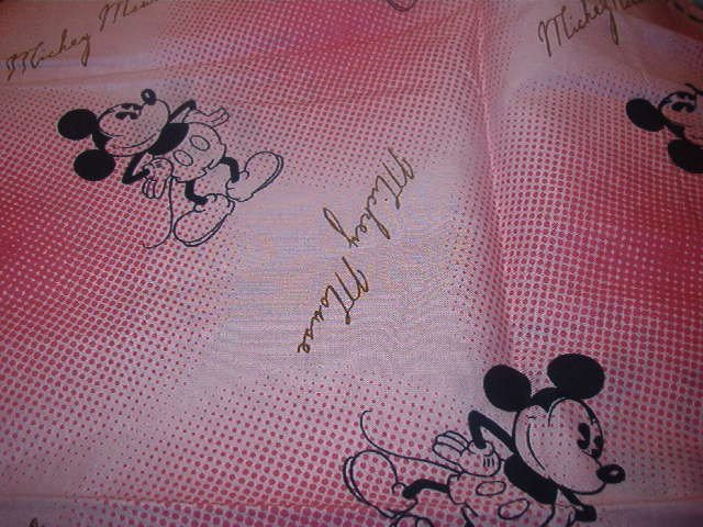 """Mickey Mouse Figure and Name on Shades of Pink Background  Cotton Fabric 1/2 yd x 44""""w"""