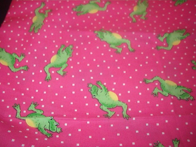 "Hopping Frogs on Pink White Polka Dots Background Cotton Fabric   1yd x 45""W"