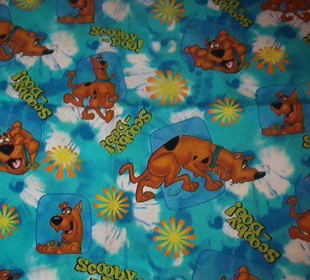 """Scooby Doo on Tie-Dye Blue Green  Background with Yellow Orange Flowers Cotton Fabric 37""""L x 45""""W"""