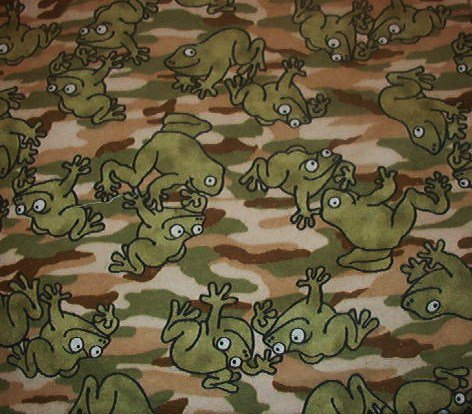 "Camoflauge Frogs Soft Brushed Cotton or Thin Felt Fabric  1yd x 45""W"