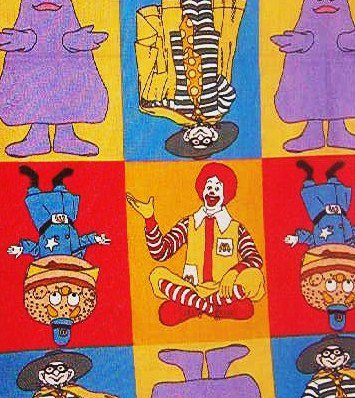 Vintage McDonalds Characters  Red Blue Yellow Purple Green Cotton Fabric  6 pieces
