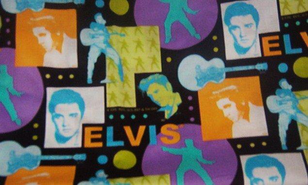 "Elvis in Purple Orange Lime Blue on Black Cotton Fabric  19""L x 21 1/2""W"