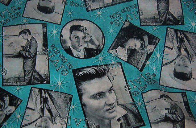"""Elvis Photos in the 50s Black White Turquoise Cotton Fabric  18""""L x 45""""W"""