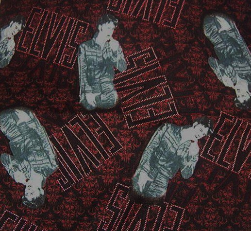 """Elvis in Black Leather Name in Lights Red and Black Cotton Fabric  20""""L x 45""""W"""