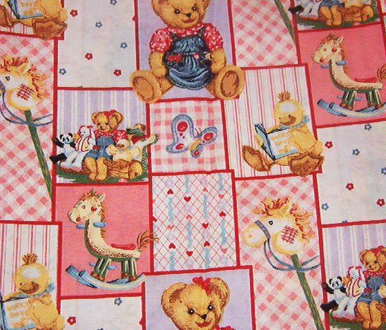 "Nursery Print Rocking Horse Bear Duck Stick Horse Pink Blue Yellow Cotton Fabric 19 1/2""L x 44""W"