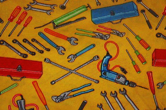 """Red Toolbox, Red Blue, Green, Gray Tools on Yellow Background Cotton Fabric 1/2 yd  x 45""""W"""