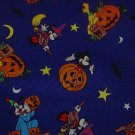 Mickey Mouse Goofy Halloween Orange Pumpkins Yellow Stars Moons Black Bats Purple Fabric  2 pcs