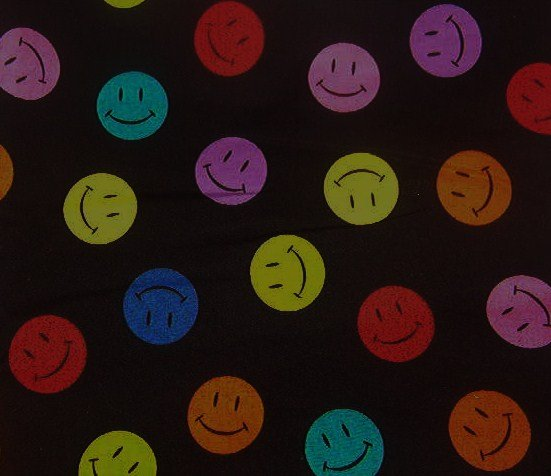 "Multi-color Smiley Faces on Black  Cotton Fabric  10 1/2""L x 19""W"