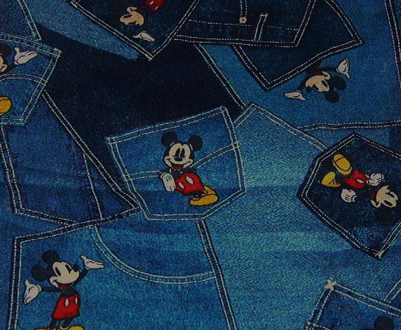 "Mickey Mouse on Denim Jeans Patchwork Pockets Cotton Fabric   37""L x 45""W"