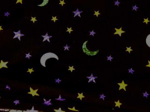 "Green White Moons and Yellow Purple Stars on Black  Cotton Fabric   38""L x 43""W"