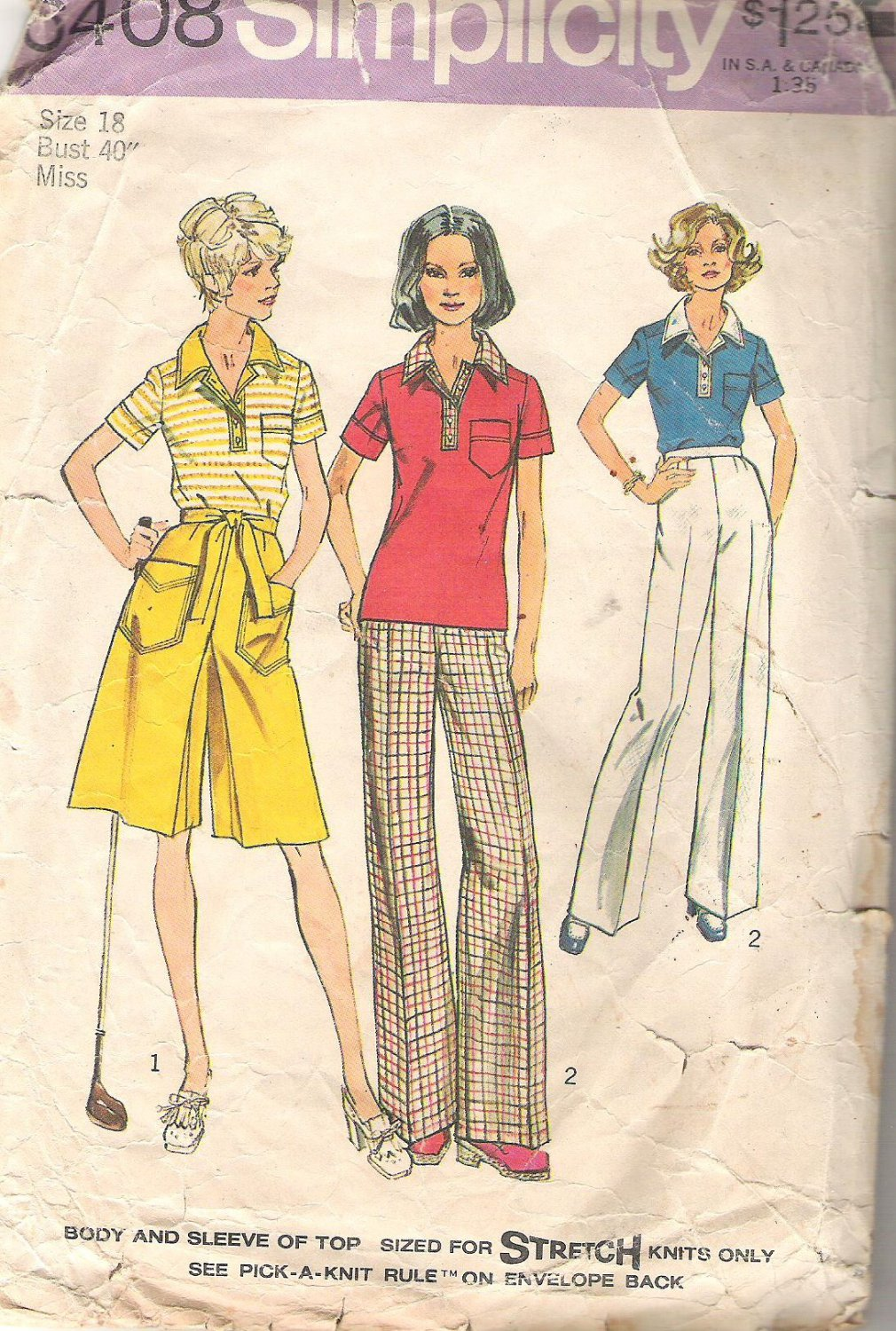 1974 Simplicitgy 3408 Pattern Stretch Knit TOP ONLY (Pants Missisng)  Size 18  Cut