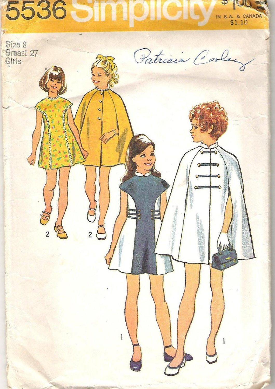 Simplicity 5536 (1973) Pattern Girls Dress and Cape  Size 8  Cut