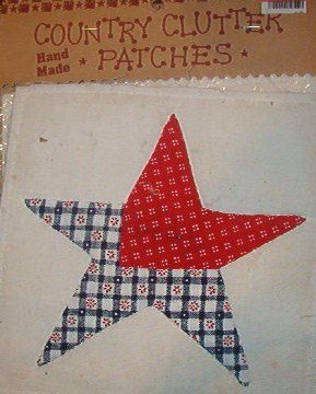 "Country Clutter Hand Made Patches Red White Blue Star 5 1/2"" x 5 1/2"""