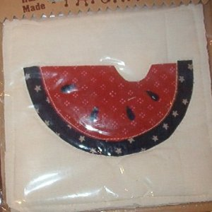 """Country Clutter Hand Made Patches Red Dark Blue Watermelon Slice  5 1/2"""" x 5 1/2"""""""