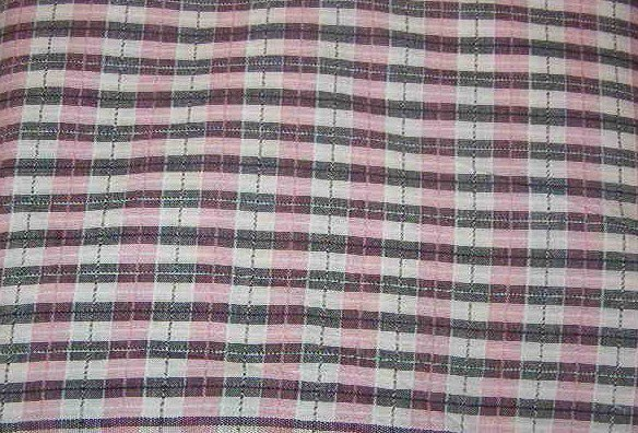 """Pink Gray White Raised Plaid Cotton/Rayon Blend Fabric 4 1/2 yds x 45"""" wide"""