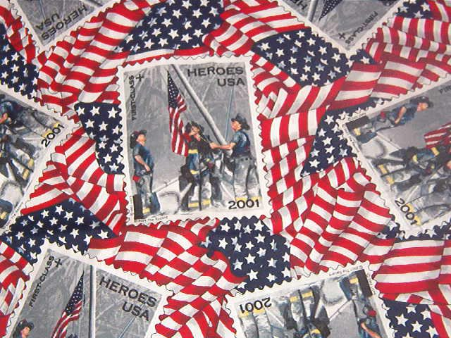 """Vintage 2001 Heros USA Stamps on Flags  Cotton  Fabric  1 1/8yds x 45"""" wide"""