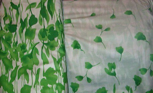 """Green Garden Picnic Flora Border with Leaves on White  Cotton Fabric  9yds x 44""""wide"""