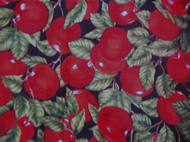"""Red Apples Green Leaves Black Background  Soft Cotton Fabric  3 1/8yd x 46""""wide"""