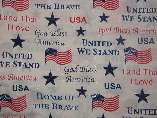 "Patriotic Sayings Flags and Stars on White with Silver Glitter  Cotton Fabric 1 3/8 yds x 45"" wide"