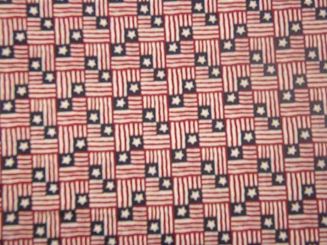"""Small Red White Blue Flags with One Star  Cotton Fabric  2 yds x 46"""""""