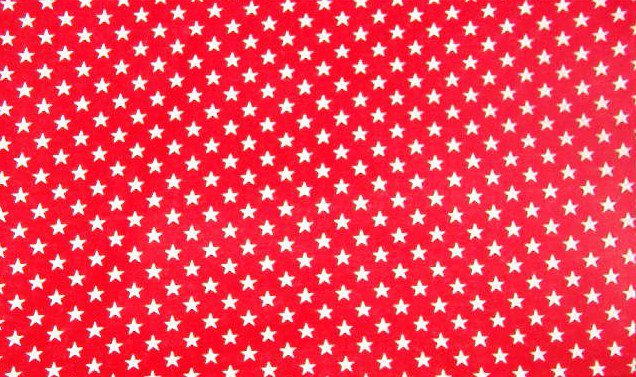 """White Stars on Red Background  Cotton Fabric  2 yds x 45"""" wide"""