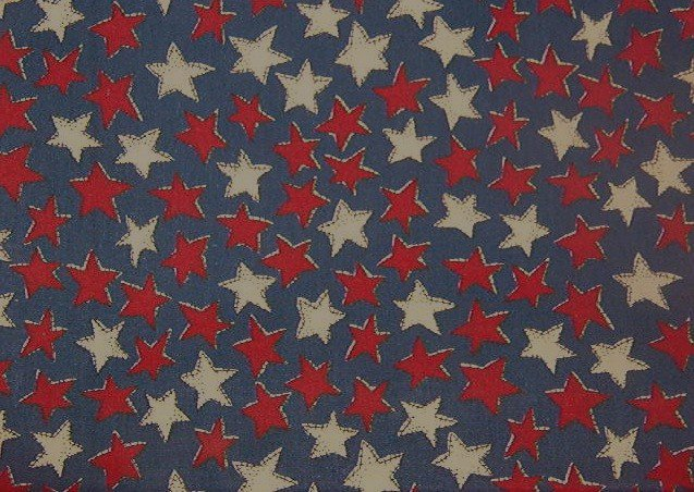 """Country Red White Stars on Blue  Cotton  Fabric 2 yds x 48"""" wide"""