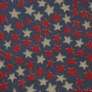 "Country Red White Stars on Blue  Cotton  Fabric 2 yds x 48"" wide"