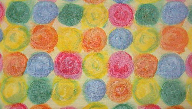 """Pink, Blue, Green, Orange, Yellow Paint Dots on Yellow Cotton Fabric  1 1/2 yds x 44"""" wide"""