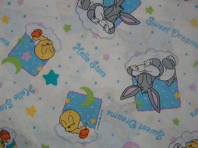 "Baby Bugs Tweety ""Sweet Dreams"" ""Hello Stars"" Stars, Moon on White Fabric  2 3/8 yds x 45"" wide"