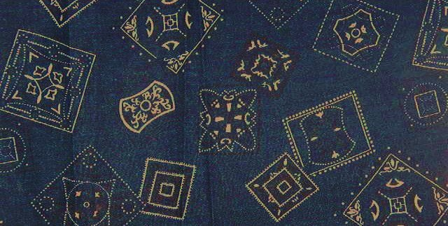 """Bandana Type Shapes in White on Blue Background  Fabric 3 1/8 yds x 45"""" wide"""