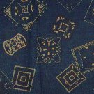 "Bandana Type Shapes in White on Blue Background  Fabric 3 1/8 yds x 45"" wide"