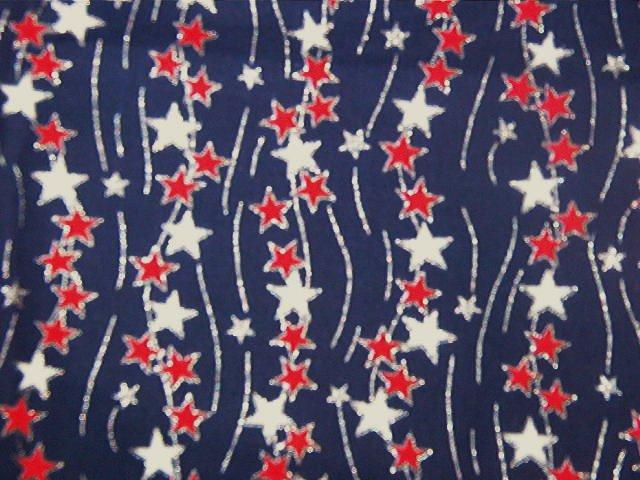 "Red White Silver Glitter Stars on Blue  Silver Glitter Streaks Cotton Fabric  2 1/16 yds x 45"" wide"