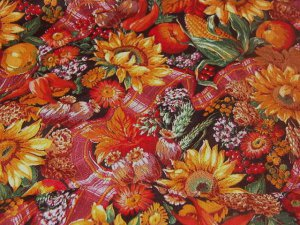 """Sunflowers Fruits Vegetables Fall Thanksgiving Colors Fabric 5 1/8 yds x 45""""w"""