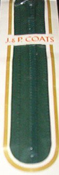 "12"" J&P Coats Forest Green Metal All Purpose Zipper"