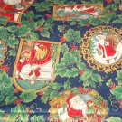 "Christmas Santa Portraits and Holly on Black  Fabric  45"" x 3 1/4 yd"