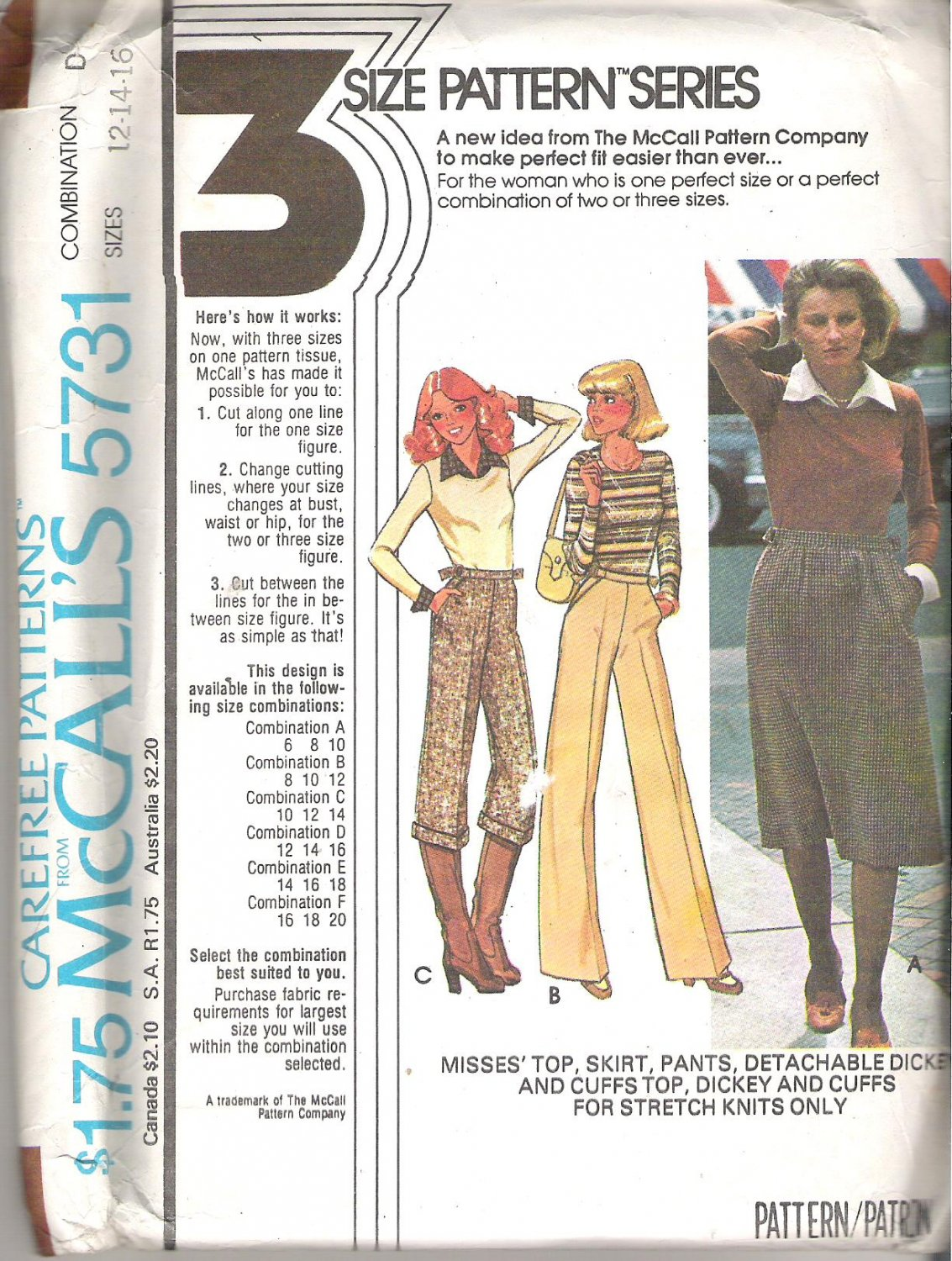 McCalls 5731 (1977) Vintage Pattern Top Skirt Pants Dickey and Cuffs  Size 12, 14, 16  Uncut