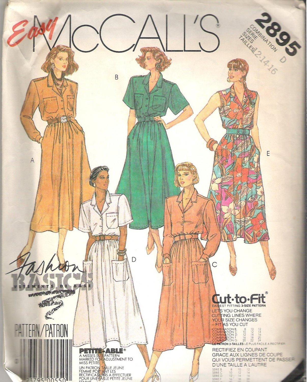 McCalls 2895 (1986) Cut to Fit Petite-able Pattern Dress Belt  Size 12, 14, 16  Partial Cut