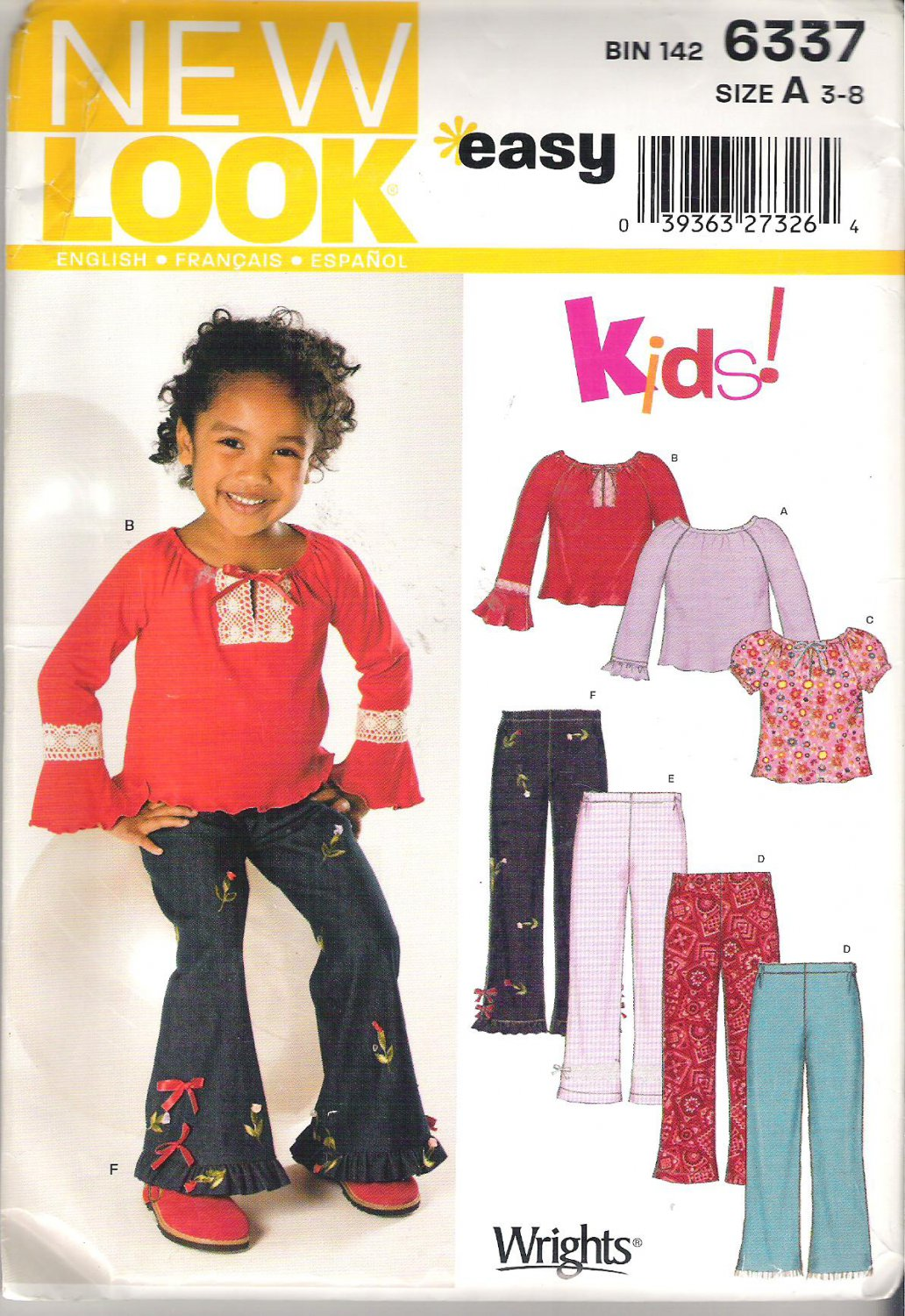 New Look Kids! Girls Vintage Look Pattern Peasant Top Pants  Size 3-8  Uncut