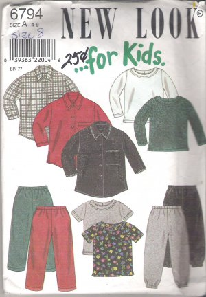 New Look for Kids 6794 Pattern Shirt, Top Pants Size 4-9  Cut to 8